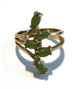 18k Gold High Grade Electroplated Jade Ring, Size 6