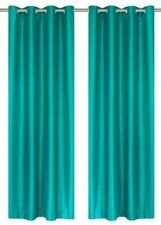 2 Piece Solid Faux Silk Grommet Window Curtain Panel - All Sizes NEW ARIVAL SALE