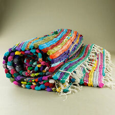 Massive Woven Rag Floor Rug Mat Hard-Wearing Bright Colours Rustic Hand Made