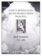 2001 Jack Lemmon photo Columbia Pictures Memorial trade print ad