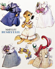"""Marylou Bushytail Squirrel Paper Doll Post Card Large 7x6"""" Rare! Mint Shackman"""