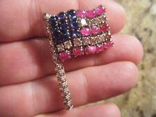 1930s American Flag Pin Brooch - Diamonds Rubies Sapphires - Historic Provenance