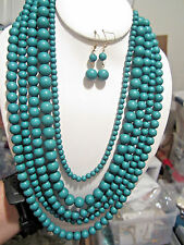 Five Layers Green Lucite Bead Necklace earring Set