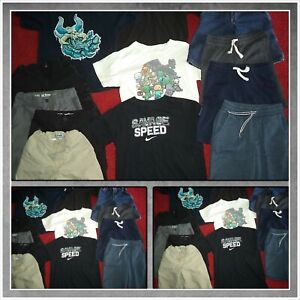 HUGE LOT~BOYS SUMMER CLOTHES SHIRTS SHORTS NIKE OLD NAVY MINECRAFT SIZE L 10-12