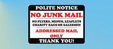No Junk Mail,Leaflets,Menus,Flyers,Circulars-Letterbox Sticker Sign C012