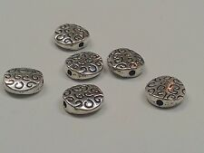 6 Tibetan Style Beads,  Flat Round, Antique Silver Color, 10x3.5mm, Hole1.5mm
