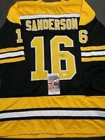 Derek Sanderson Boston Bruins Autographed Signed Black Style Jersey XL coa-JSA