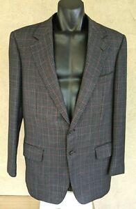 ERMENEGILDO ZEGNA Men's Grey Merino Extrafine Wool Glen Plaid Sport Coat Size 52