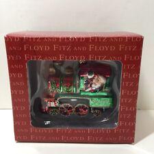 "Train Santa Ornament Fitz and Floyd Glass Ornament 3.25"" Christmas"