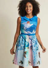 Mod Cloth Dress Whimsy Without End A-Line Dress in Snow Cats (Small)