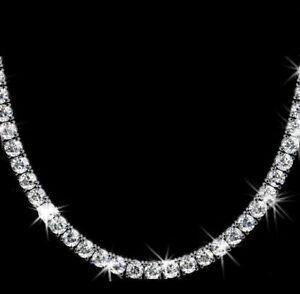 "Round Cut VVS1/D Diamond 30 Ct Tennis Necklace 16"" Solid 14K White Gold Finish"