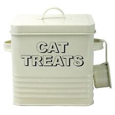 Cream Enamel Cat Treats Storage Tin Box Bin - Pouches Treats Dry Food Biscuits