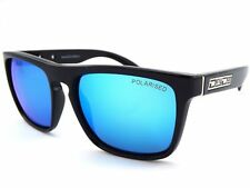 DIRTY DOG Polarised MONZA Square Sunglasses Black / Blue Mirror 53267
