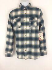 Men Vans long sleeve cotton plaid blue tan flannel Shirt tailored fit Size M New