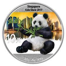 China - 10 Yuan 2017 - Panda - Coin Show Singapore 2017 - 30 gr. Silber St Farbe