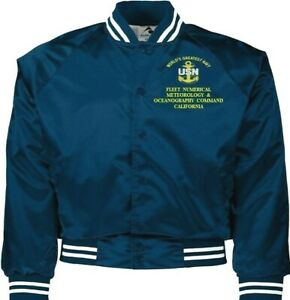 FLEET NUMERICAL METEOROLOGY COMMAND NAVY ANCHOR EMBROIDERED 2-SIDED SATIN JACKET