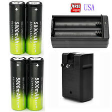 4x 18650 5800mAh 3.7V Rechargeable Battery Li-ion Battery 1x 18650 charger