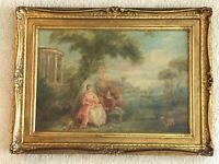 Original French or English Pastoral Scene Oil Painting Framed Detailed