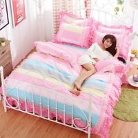 Princess Style Cotton Lace Bedding Set Duvet Cover+Sheet+Pillow Case Four-Piece