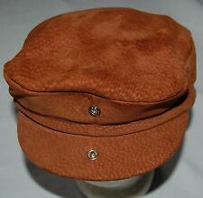 Vintage Suede Leather Newsboy Cabbie Mens Hat L XL Chocolate Brown Snap Lip
