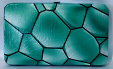 Blue Green Womens Flat Wallet Opera Crocodile Design Purse