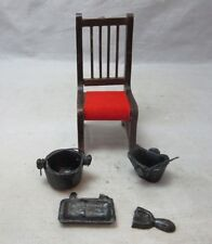 Doll house miniature wood chair, iron pots