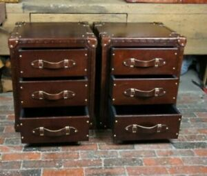 Vintage Bespoke Brown Leather Draws End Table Home Decor Furniture Set of 2