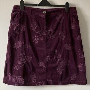 Mantaray skirt 16 purple cord acorn leaf embroidery corduroy needlecord