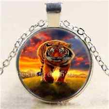 Under the sun Tiger Cabochon Glass Tibet Silver Chain Pendant Necklace