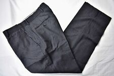 Austin Reed London Black Pinstripe Flannel Dress Flat Front Trousers Size: 33x29
