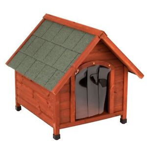 Dog Kennel Wood Small Sturdy Pitched Roof All Seasons Protect from Cold Damp