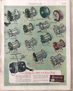1954 magazine ad for Bronson Fishing Reels - 15 different models, distinguished