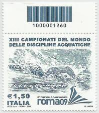 REPUBBLICA ITALIANA - 2009 Mondiali Nuoto con codice a barre 1260
