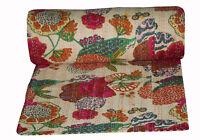 Tribal Block Print Kantha Quilted Bedspread Throw Blanket Indian Bohemian Gudari