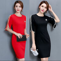 Ladies Office 1/2 Pearl Sleeve Business Formal Party Cocktail Prom Dress UK 6-18