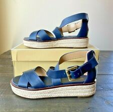 NIB MICHAEL KORS DARBY SANDAL ADMIRAL LEATHER PLATFORM SANDALS SHOES MULT SZ