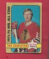 1972-73 OPC # 249 HAWKS PAT STAPLETON ALL STAR  HIGH #  CARD