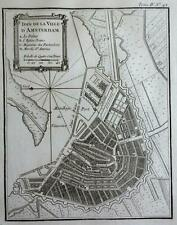 Amsterdam Holland Netherlands detailed city plan canals port 1760 Bellin map