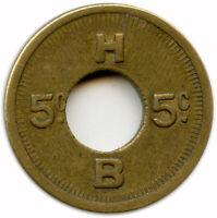 H. B. Portland, Oregon Salt Lake City, Utah Aberdeen, Washington 5¢ Trade Token