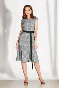 Damen Elegantes Kleid Kariert Ärmellos Knielang Grau Gr.42