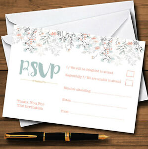 Coral & Blue Autumn Watercolour Personalised RSVP Cards