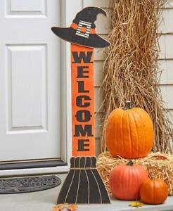 "Grande "" Welcome "" Witch's Broom Halloween Veranda Greeter Insegna"