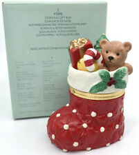 PartyLite Christmas Stocking Gift Box Candle Holder Porcelain 4.25in Boxed P7898