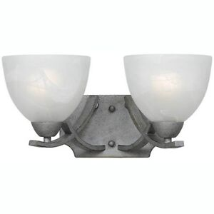 Old Silver Vanity Light Sconce Fixture Triarch 33280/2 2 Lt Wall Mount Bathroom