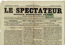 N°25:Paire du 1c Lauré OBLIT.TYPOGRAPHIQUE/ MOITIE de JOURNAL de  LANGRES -1872-