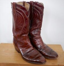Vintage DAN POST Brown Spanish Leather Cowboy Western Rodeo Boots Mens 9D 42.5