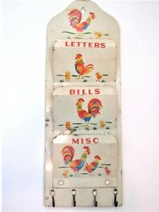 Vtg Rooster Tin Wall Mail Letter Bill Organizer Hanging Letter Key Holder Japan