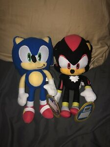 """New 11""""-12"""" Set Of 2 Sonic And Shadow Sonic The Hedgehog Soft Plush Toys"""