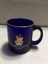 Ritz Carlton Kapalua Hawaii Cobalt Blue Glass & Gold Mug Hotel Coffee Cup Usa