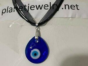 Evil Eye GREEK MATI Blue GLASS Pear Shaped PENDANT Black CORD NECKLACE NEW